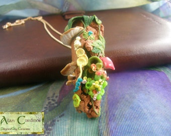 Nature Necklace. Organic Necklace. Polymer clay jewellery.  Gift for her.  Gift for him.