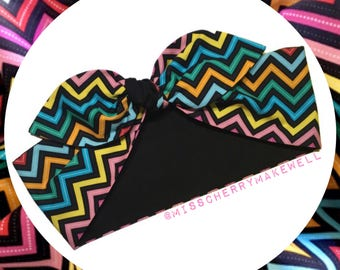 Rainbow Fiesta Chevron Zig Zag Rockabilly Vintage 1950's Pin Up Inspired Head Scarf Hair Tie Headscarf Hair Bow by Miss Cherry Makewell