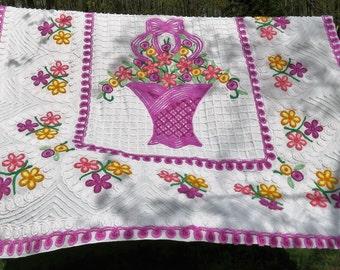 A Rainbow of Happy, Vibrant Lollipop Flowers & Hearts Vintage Cotton Chenille Bedspread