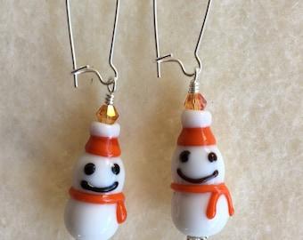 Orange Lampwork Snowman Earrings. Pick your style!