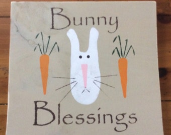 Bunny Blessings Wood sign 12x12