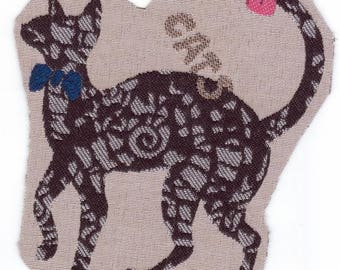 Application textile sewing pattern: black and gray... elegant cat. Inscription Cats