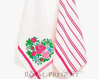 Roses Heart Machine Embroidery Design - 4 sizes