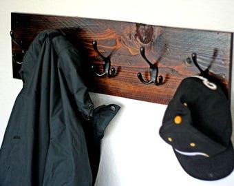 Coat Rack Wall Mount, Wood Coat Rack for Hallway with 5 Coat Hooks