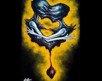 """Print 11x17"""" - Still hanging by a thread - Dark Art Blood Horror Love Monster Creature Zombie Alien Sci Fi Gothic Fantasy Android Surreal"""