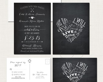 Chalkboard Inspired Wedding Invitation Card and RSVP This day I will marry my best friend - Heart Design Typography  DEPOSIT Payment
