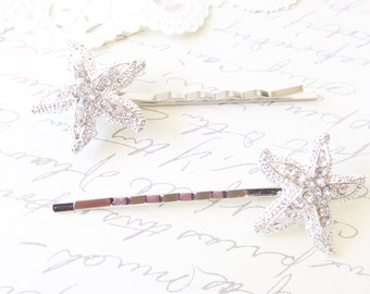 Rhinestone Starfish Hair Pins - Silver Starfish - Silver Bobby Pin -  Beach Wedding - Hair Accessory - Bridal