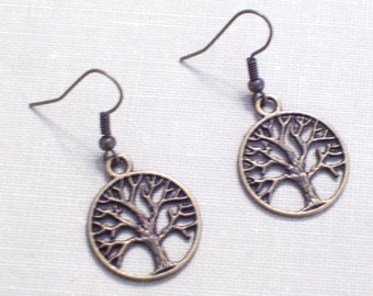 Antiqued Brass Tree of Life Earrings, Bronze Cutout Tree Pierced Dangle Earrings