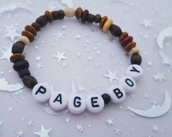 Page boy bracelet, page boy gift, wooden srfer style bracelet, wedding attendant gift, child's wooden bracelet, wedding thank you gift, page