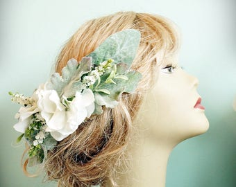 Flower and Leaf Bridal Hair Comb Flower Crown Bridal Hair Wreath