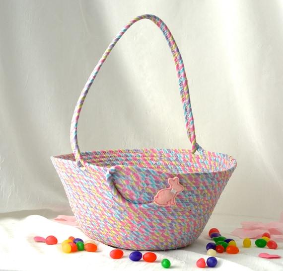 Glitter Easter Basket, Pink Flower Girl Basket, Handmade Easter Bucket, Wedding Basket, Girl Easter Bucket, Easter Decoration