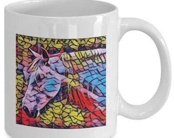 POP ART HORSE - Coffee Mug - Horse Lovers - Equestrian Gift - 11 oz white coffee tea cup