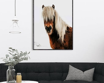 Icelandic Horse Print Art Printable Modern Poster Iceland Pony Brown Animal Downloadable Digital Download Contemporary Home Wall Decor