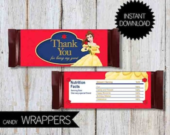 Beauty and the Beast Princess Belle Birthday Party PRINTABLE Candy Wrappers- Instant Download | Disney | Princess Belle| Chocolate Wrapper