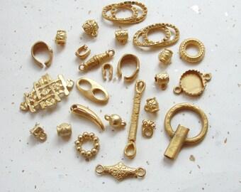 Little Golden Pendants/Connectors , many pieces.