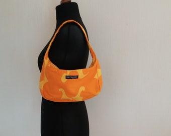 MARIMEKKO Yellow & Orange Women's Canvas Short Handle Bag Made in Finland