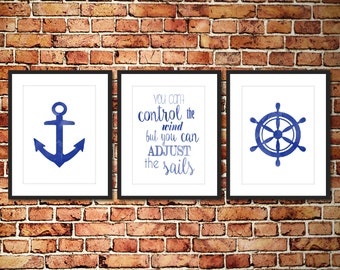 Watercolor Nautical Kids Nursery Prints Blue - Set of 3