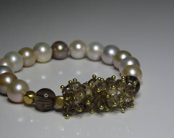 Freshwater Pearls Smoke quartz silver gold plated