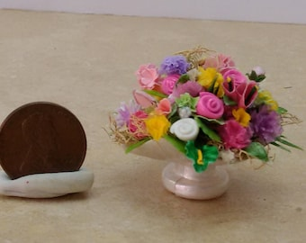 Ooak 1:12 scale spring flower arrangement miniature dollhouse by Mable Malley