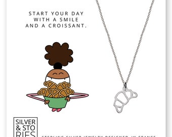 Croissant 925 Sterling Silver thin minimalist charm necklace with box