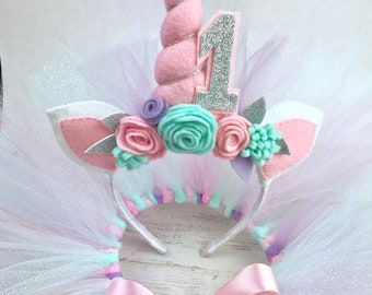 Child headband, unicorn headband, cake smash, tutu, 1st birthday photo prop, girl, baby headband, glitter tulle