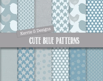Blue  Digital paper pack,  Commercial scrapbooking paper, Downloadable, Baby boy patterned paper, Instant Download , patterned paper pack