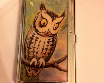 Owl business card etsy retro owl business card holder credit card case colourmoves