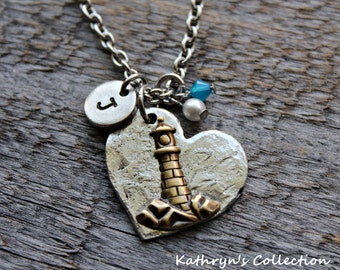 Lighthouse Necklace, Lighthouse Jewelry, Coastal Jewelry, By The Seashore, Lighthouse Gift