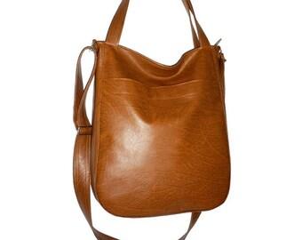 faux leather hobo bag brown, brown hobo bag, vegan leather crossbody bag brown, faux leather crossbody bag, faux leather hobo bag brown