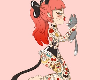 A4 Tattooed Cat Lady Print