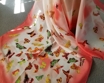 Fly Away Butterfly Shawl Coral
