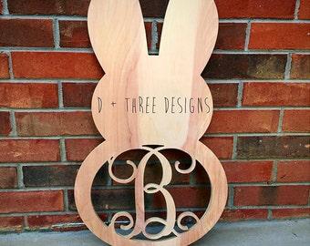 Easter Monogram, Wooden Bunnies, Wooden Rabbits, Easter Bunny, Wooden Easter Bunny, Easter Decor, Wooden Monogram Unpainted