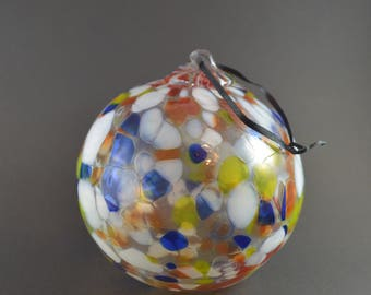 Big Vintage Glass Ornament, Blown Glass Ornament, Blown Glass Sphere, Speckled Glass Ornament, Art Glass Ball with Hanger, Vintage Glass Orb