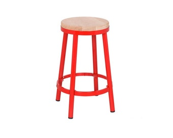 """Custom Painted Round Metal & Wood Stool in the Color of your Choice 26.25"""" Counter Height or 30"""" Bar"""