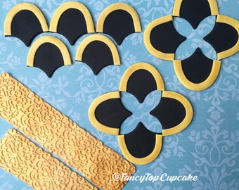 scallops And scrolls handmade fondant cake toppers made by FancyTopCupcake