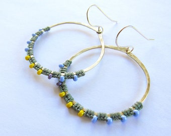 Full Moon Rising Hoops in sage green and periwinkel and yellow