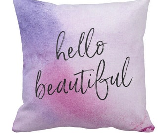 Hello beautiful pillow, hand-lettered pillow, purple watercolour pillow, violet pillow, bedroom decor