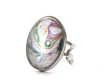 Upcycled Made with Paint Oval Ring in White, Purple, Orange, and Green