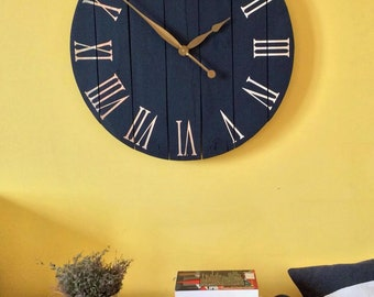 "Art.03. 32""/81cm Navy blue wall clock. Large wall clock. Farmhouse decor. Wall art. Rustic home decor. Clocks"