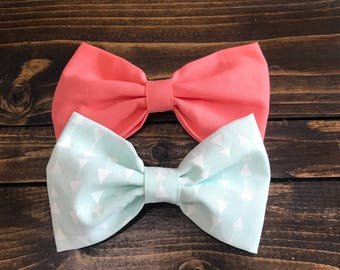 Coral and Arrows Hair Bows