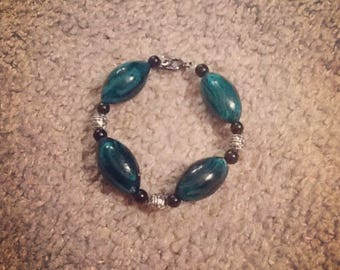 Teal Blown Glass Beaded Bracelet