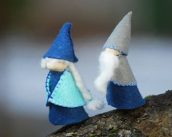 Gammer and gaffer waldorf inspired gnomes, set of two old age gnomes, two leprechauns, handmade natural toys, waldorf story telling toys