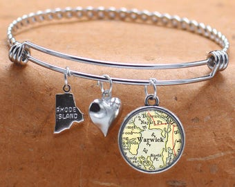 Warwick Rhode Island Map Charm Bracelet State of RI Bangle Cuff Bracelet Vintage Map Jewelry Stainless Steel Bracelet Gifts For Her