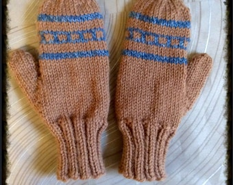 Childs wool mittens,5-7 yr old,100% pure wool hand knit mittens, Childs mittens,wool mittens,mittens,hand knit, classic knit wool mittens
