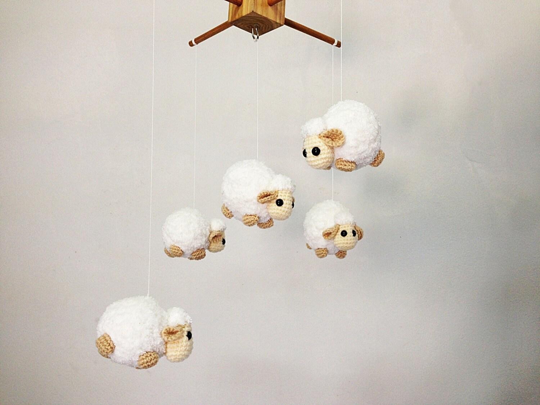 Amigurumi Sheep Baby Mobile : Baby mobile crochet cute counting sheep sheep baby