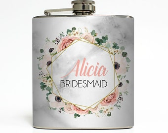 Custom Flask Flower Frame with Monogram on Faux Marble Personalized Bridesmaid Gifts - Stainless Steel 6 oz Alcohol Hip Flask  LC-8001