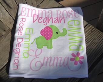 Personalized Elephant Baby Blanket - Girl Elephant Receiving Blanket - Girl Baby Name Blanket - Newborn Swaddling Blanket - Baby Photo Prop