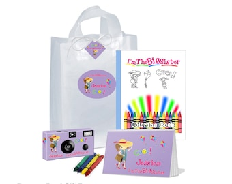 I'm The Big Sister Gift Bag -- full of goodies -- in LAVENDER -- camera, photo album, coloring book, crayons, gift tag - can be PERSONALIZED