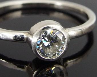 Moissanite and 14k White Gold Ring, 14k Gold Ring, Moissanite Engagement Ring, Moissanite Wedding Ring, Alternative Engagement Ring