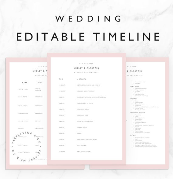 wedding schedule template